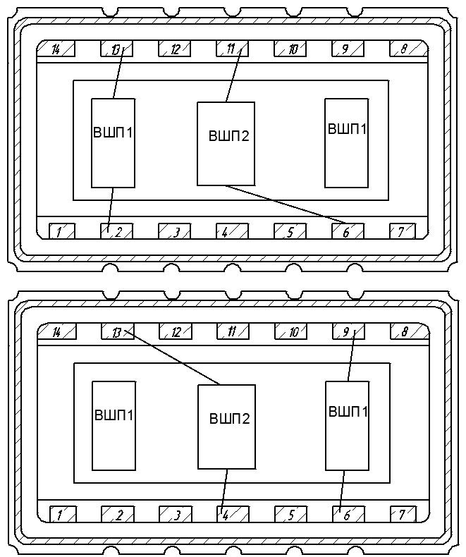 Рисунок 4. Варианты разварки линий задержки.
